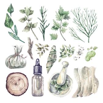 Großes aquarell-set aus kräutern, medizinischen flaschen, ölen. handgezeichnete illustrationen von bio-heilpflanzen und aufbewahrungsutensilien. gesundheit und selbstpflege