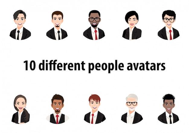 Großes bündel verschiedener menschen avatare. satz männliche und weibliche porträts. avatar-charaktere für männer und frauen. benutzerbild, gesichtssymbole zur darstellung der person in einem videospiel, internetforum, konto.