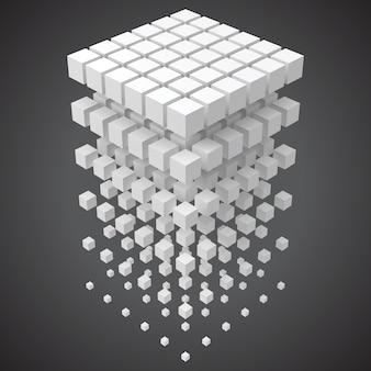 Großes daten-, blockchain- und technologiekonzept mit würfeln in 3d