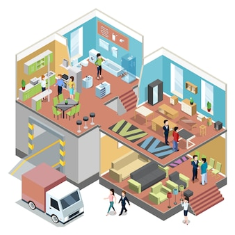 Großes einkaufszentrum mit innenraum des modernen möbelshops.