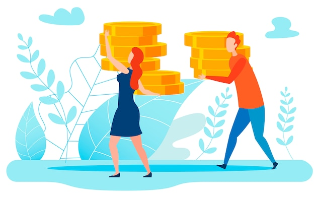 Großes einkommen, geld-metapher-illustration