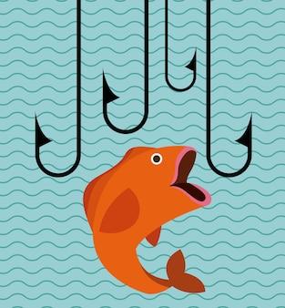 Großes fischendesign, grafik der vektorillustration eps10