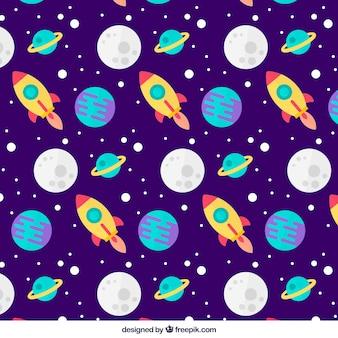 Großes flaches muster von monden, planeten und raketen