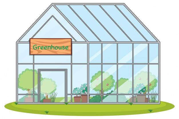 Großes gewächshaus mit pflanzen