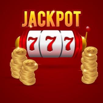 Großes gewinn 777 lottovektor-kasinokonzept mit spielautomat