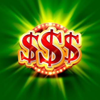Großes gewinn-dollar-casino-schild, spielbanner-design. vektor-illustration