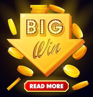 Großes gewinnplakat mit fallenden goldmünzen großes gewinnbanner mit pfeil und knopf