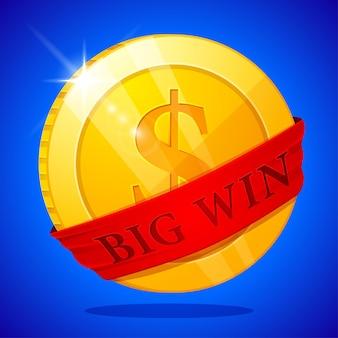 Großes gewinnplakat mit goldener münze. big win-banner. spielkarten, slots und roulette.