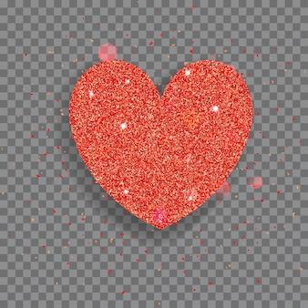 Großes glänzendes herz aus rotem glitzer mit funkeln und blendungen
