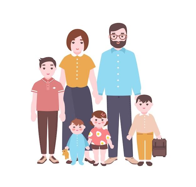 Großes glückliches familienporträt. lächelnde mutter, vater und kinder stehen zusammen. entzückende lustige zeichentrickfiguren isoliert auf weißem hintergrund. bunte vektorillustration im flachen stil.
