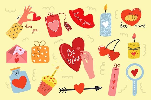 Großes handgezeichnetes set von valentinstagselementen