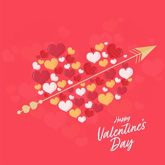 Großes herz aus kleinen herzen mit goldenem pfeil auf rotem hintergrund für glückliches valentinstag-konzept.