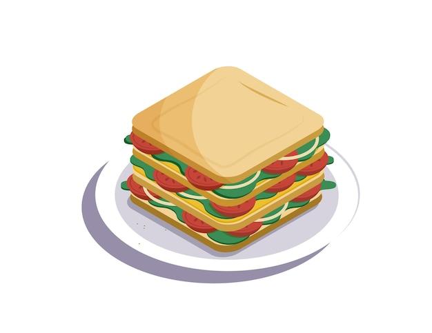 Großes leckeres sandwich mit gemüse auf einem teller