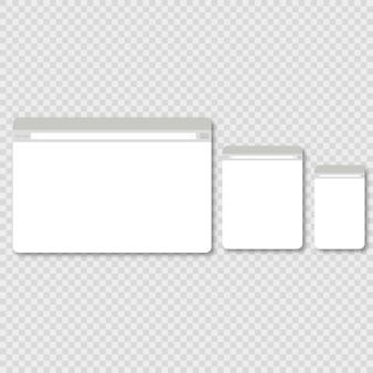Großes, mittleres und kleines browserfenster auf weißem hintergrund mit schatten