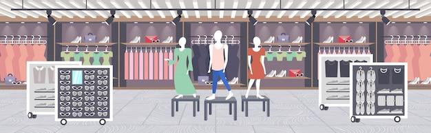 Großes modegeschäft supermarkt weibliche kleidung einkaufszentrum moderne boutique interieur horizontal
