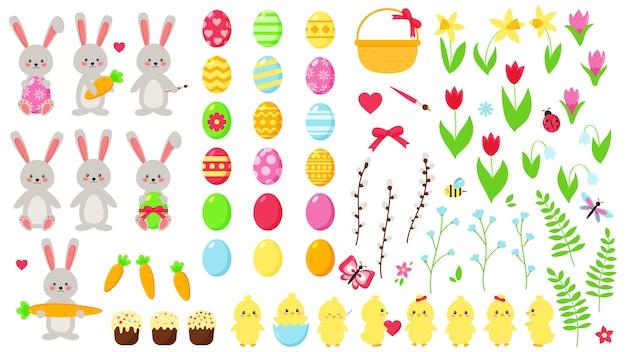 Großes oster-set. niedliche kawaii charaktere: kaninchen und küken. handgezeichnete flache frühlingsblumen. ostereier. dekorationselemente.