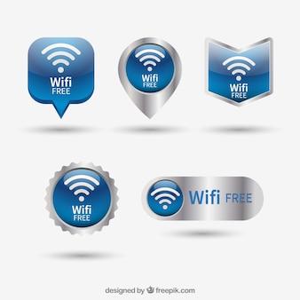 Großes paket von fünf realistischen wifi knöpfen