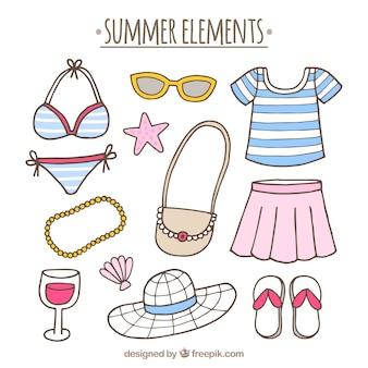 Großes paket von handgezeichneten elementen für den sommer