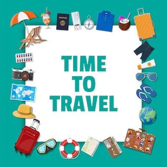Großes reiseset. sommerferien, tourismus, urlaub