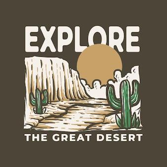 Großes retro-vintage-outdoor-abenteuer in der wüste