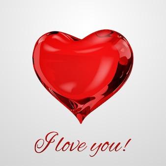 Großes rotes herz auf weißem hintergrund mit der aufschrift ich liebe dich