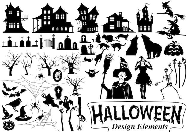 Großes set an halloween-designelementen