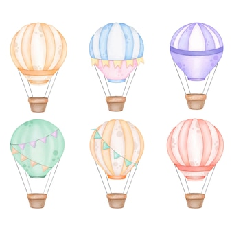 Großes set aquarell heißluftballons