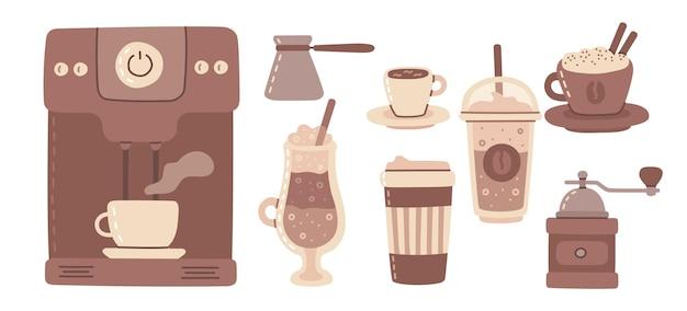 Großes set aus kaffeemaschine, tasse, glas, kaffeemühle um den mann mit tasse kaffeekunststil im hintergrund. moderne vektorgrafik im flachen design.