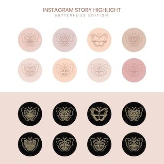 Großes set boho beautyfu schmetterlinge instagram cover geometrische highlight geschichten strichzeichnungen set