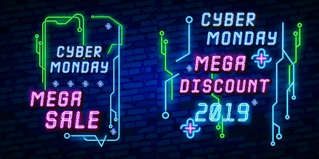 Großes set cyber monday banner