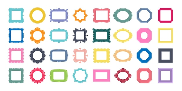 Großes set dekorativer bilderrahmen verschiedene formen quadratischrechteck runder ovaler stern achteck