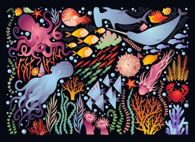 Großes set der unterwasserwelt bunte illustration