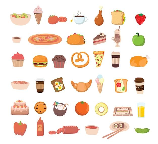 Großes set icons essen, flacher stil. obst, gemüse, fleisch, brot, fast food, süßigkeiten. mahlzeit-symbol auf weißem hintergrund. zutatensammlung