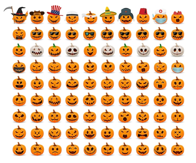Großes set kürbisse cartoon orange und weißer kürbis mit lächeln für den urlaub happy halloween