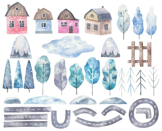 Großes set mit elementen der stadt, straßen, häusern, bäumen, bergen in aquarell