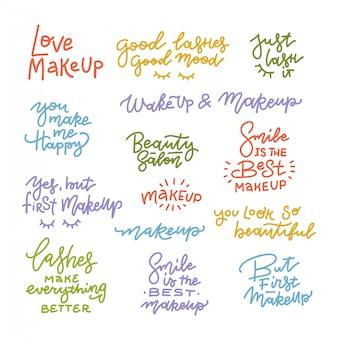 Großes set mit positivem make-up und wimpern-schriftzug. motivations- und inspirationszitate für mädchenzimmer, karten, wanddekoration. heim- und soziale netzwerke dekorieren mit inspirierenden phrasen.