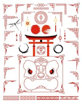 Großes set mit traditionellem asiatischen rahmen für karten und bilderrahmen