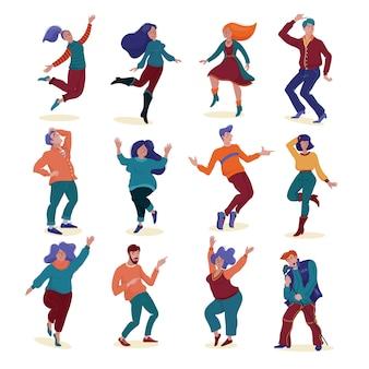 Großes set, sammlung verschiedener menschen, männer und frauen, schlank und mollig, tanzend und fröhlich singend