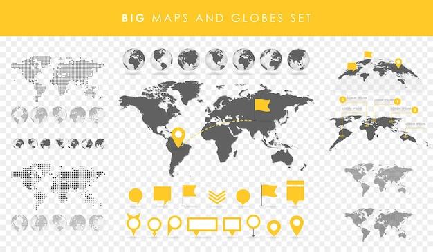 Großes set von karten und globen. pins-sammlung. verschiedene effekte. transparente vektorillustration.