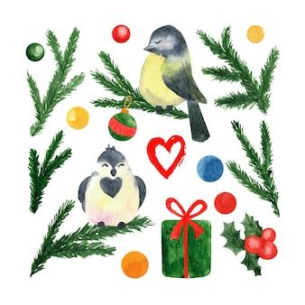 Großes set von neujahrs- und weihnachts-aquarellillustrationen mit kleinen vögeln, stechpalmenbeerengeschenken