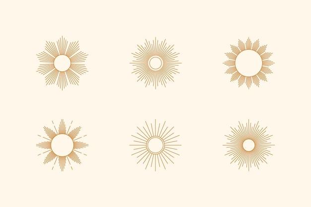 Großes set von sonnenformen und sunburst im minimal trendigen stil. vektorsymbol, logo, etiketten, abzeichen isoliert. boho-illustration für t-shirts druck, wandkunst, muster