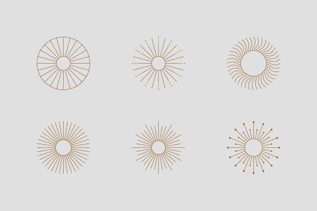 Großes set von sonnenformen und sunburst im minimal trendigen stil. vektorsymbol, logo, etiketten, abzeichen isoliert. boho-illustration für t-shirts drucken, wandkunst, karten.