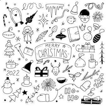 Großes set von weihnachtsgestaltungselementen im doodle-stil