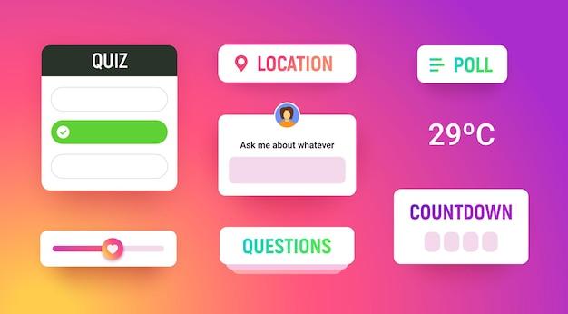 Großes social-media-aufkleberpaket mit standort-label-quiz-countdown-umfrage-symbol frauen-avatar-frage