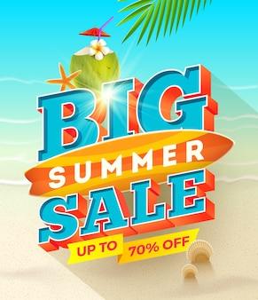 Großes sommer-sale-design mit surfbrett und kokos-cocktail