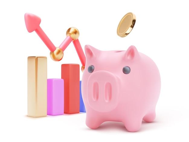 Großes sparschwein mit wachsenden 3d-farbbalken und pfeil. geld sparen oder akkumulieren, finanzdienstleistungen, einlagenkonzept.