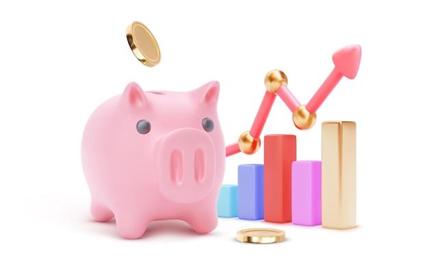 Großes sparschwein mit wachsenden balken der farbe 3d und pfeil lokalisiert auf weißem hintergrund. geld sparen oder ansammeln, finanzdienstleistungen, einzahlungskonzept. vektor-illustration