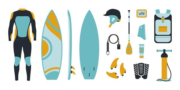 Großes surfequipment im flachen stil