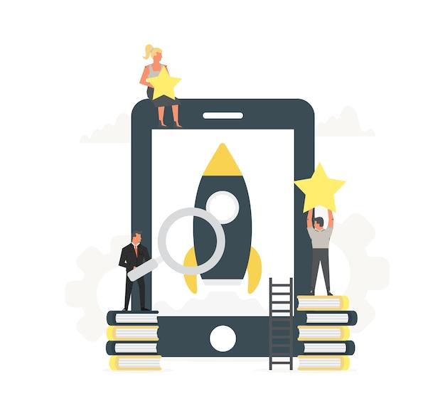 Großes telefon mit kleinen büromitarbeitern