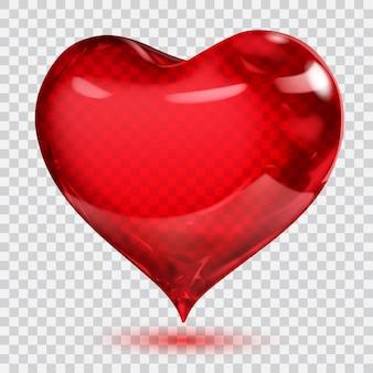 Großes transparentes, glänzendes rotes herz mit schatten